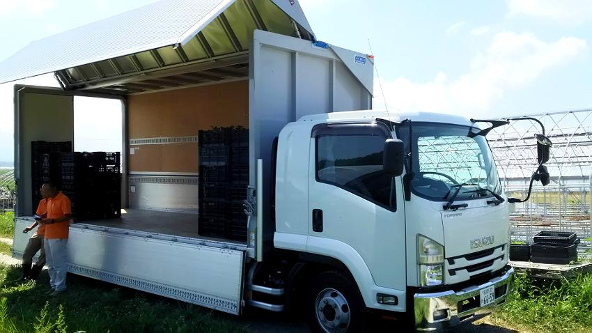 イチゴ苗出荷用トラック